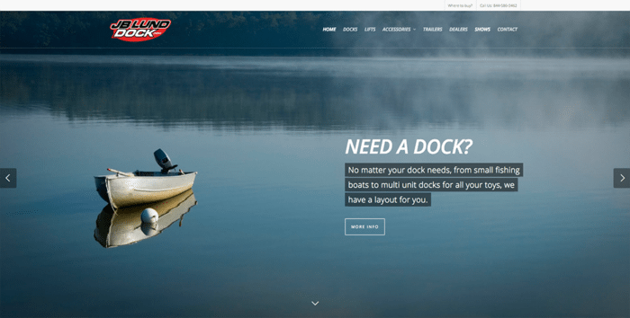 JB Lund Dock & Lift | Websites | Off The Wall Advertising