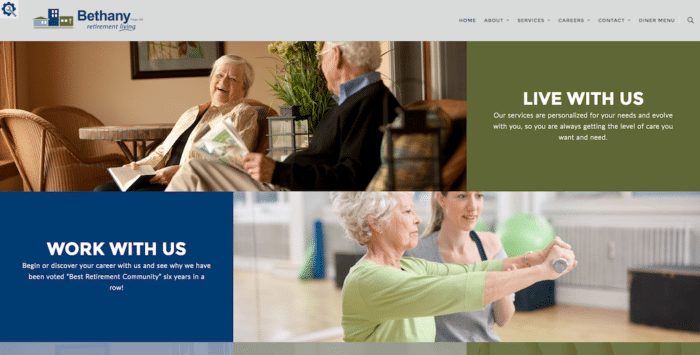 Bethany Retirement Living | Website Design | Off The Wall Advertising
